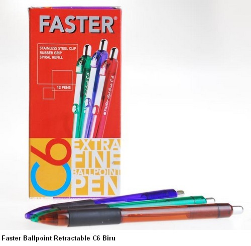 Supplier ATK Faster Ballpoint Retractable C6 Biru Harga Grosir
