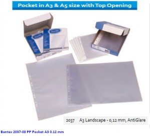 Supplier ATK Bantex 2037-08 PP Pocket A3 0.12 mm Harga Grosir